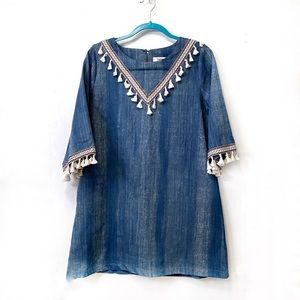 Hayden Perfectly Embellished Boho Chambray Dress
